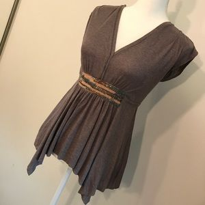 Anthropologie Deletta Brown Sequence Top Size S